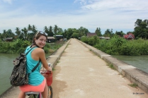 Biking across an old colonial railway track
